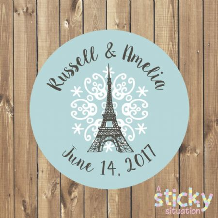 Personalised Wedding Stickers - Eiffel Tower Design